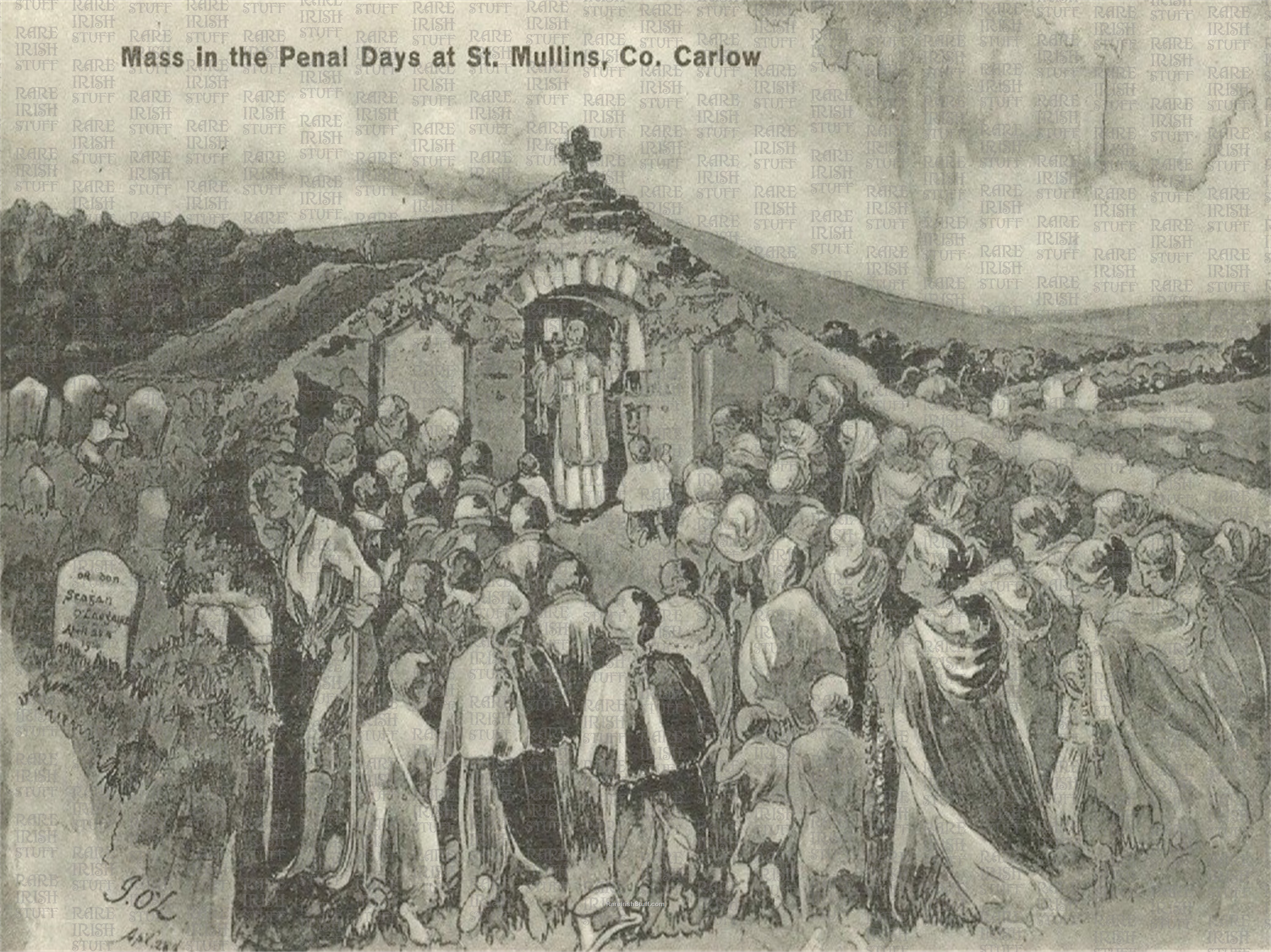 1  St  Mullins   Co.  Carlow   Ireland  Unknown  artist impression of mass during  Penal  Days around the time of the  Great  Irish  Famine  Thumbnail0