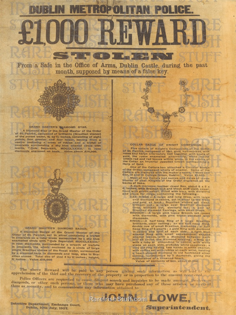 Ninth 10-4 -  Dublin  Castle  Irish  Crown  Big  Jewelry  Heist 1907 -  1000  Reward  Poster  Ireland  Thumbnail0