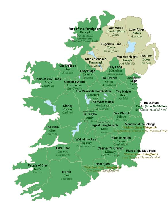 Map of ireland with english translations of county names gumiabroncs Images